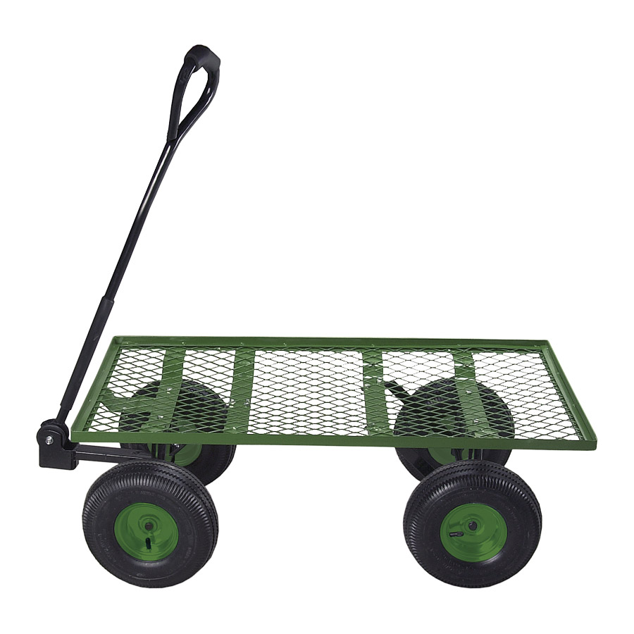 Garden Utility Cart With Wheels : Tahoe green steel flatbed garden utility cart