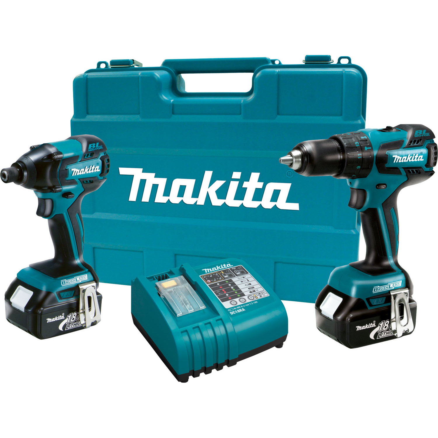 makita lxt239 18v cordless 1 2 inch hammer drill and impact driver combo kit ebay. Black Bedroom Furniture Sets. Home Design Ideas