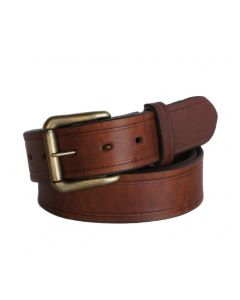 R.G. BULLCO USA Made RGB-110 1-1/2-In Full Grain Brown Leather Belt - Size 34