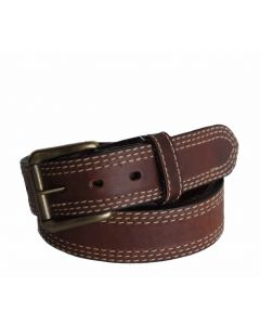 R.G. BULLCO USA Made RGB-113 1-1/2-In Triple Stitch Tan Leather Belt - Size 32