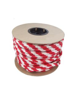 "CWC 115460 5/8"" Solid Braid Multifilament Poly Red/White Halter Leader Trucker Rope 200'"