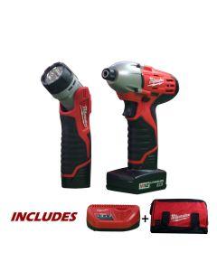 Milwaukee 2490-21 12V Cordless M12 Impact Driver Combo Kit