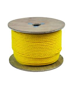 CWC 300035 1/4in Twisted Three Strand Polypropylene Yellow Rope 600ft