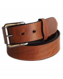 "R.G. BULLCO USA Made RGB-4576 1-1/2"" Single Stitch Brown Leather Belt - Size 38"