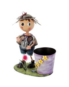 Astonica 50300088 Hand Painted Metal Sowing Seeds Whimsical Planter