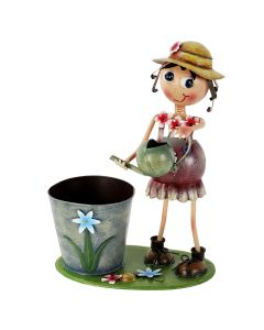 Astonica 50300097 Hand Painted Metal Watering Can Lucy Planter