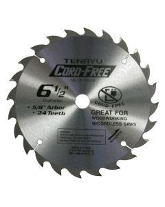 TENRYU CF-16524W Cordless Wood 6-1/2-Inch 24T Saw Blade