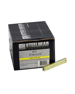 Steelhead N11 Galvanized Staples, 7/16-In Crown, 16-Gauge, 3/4-In leg, 10,000-PK