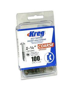 "Kreg SML-C125-100 1-1/4"" #8 Coarse Pocket Hole Screws, 100-Pack"