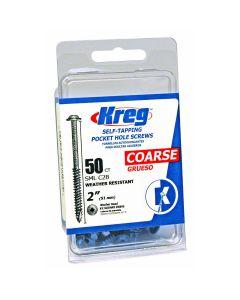 Kreg SML-C2B-50 2'' Coarse Thread #8 Blue-Kote Pocket Hole Screws 50 PK