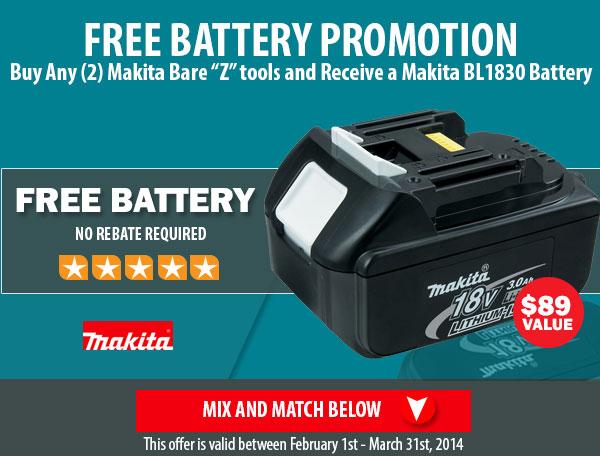 Makita Free Battery Promotion
