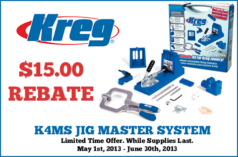 Receive a $15 mail-in-rebate from Kreg when you purchase the K4MS Jig Master System