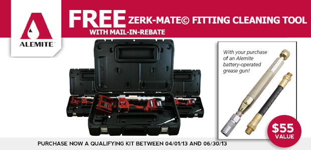 Receive a Zerk Mate Fitting Cleaning Tool mail-in-rebate from Alemite when you purchase the Alemite 595-B,595-A,585-B1