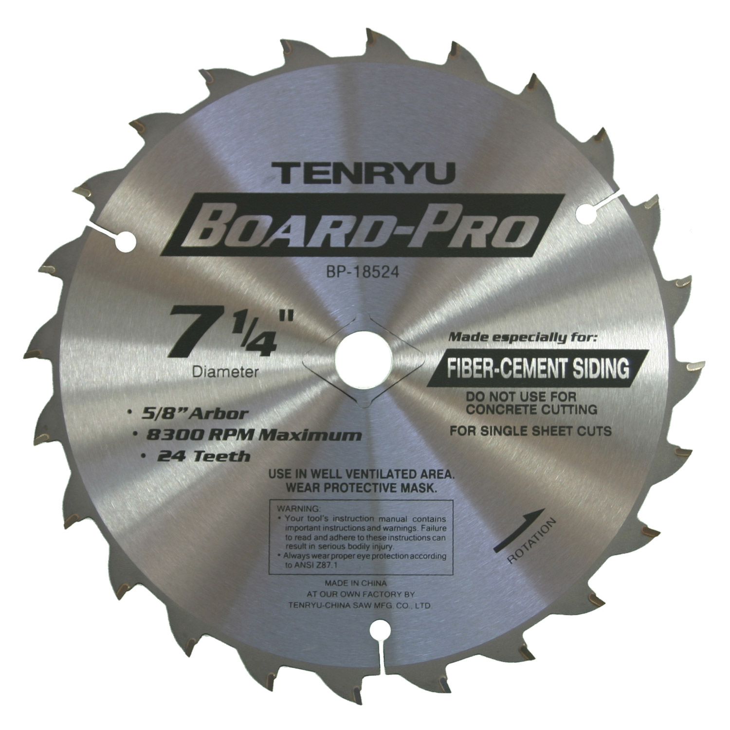 Tenryu PT-18524P 7-1//4-inch 24T Power Tool Series Saw Blade 5//8-inch Arbor