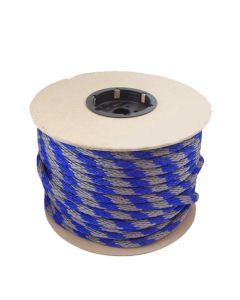 "CWC 115454 5/8"" Solid Braid Multifilament Poly Blue/Grey Halter Lead Trucker Rope 200'"