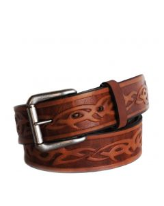R.G. BULLCO USA Made RGB-125X 1-1/2-In Celtic Barb Brown Leather Belt - Size 48
