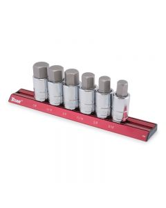 Titan 16130 SAE Hex Bit 6-Piece Socket Set with Magnetic Aluminum Socket Rail