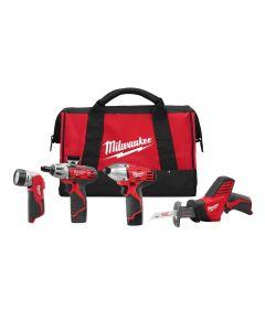 The Milwaukee 2491-84 12V 4 Piece Tool Combo Kit