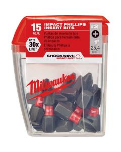 "Milwaukee 48-32-5003 #2 Philips Shockwave 1"" Impact Steel Insert Bits - 15-Pack"