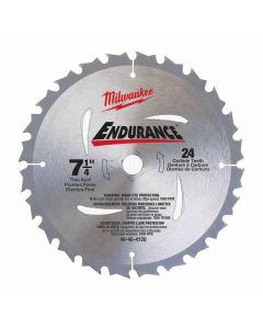"Milwaukee 48-40-4120 7-1/4"" 24 Carbide Teeth Circular Saw Blade"