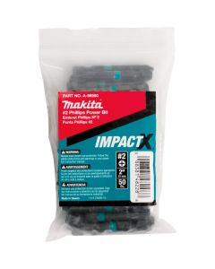Makita A-98980 Impactx #2 Phillips 2_ Power Bit, 50 Pack, Bulk