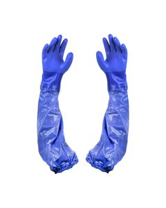 Oil Resistant Large L Blue PVC Vinyl Sleeve Glove