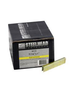 Steelhead N13 Galvanized Staples, 7/16-In Crown, 16-Gauge, 1-In leg, 10,000-Pack
